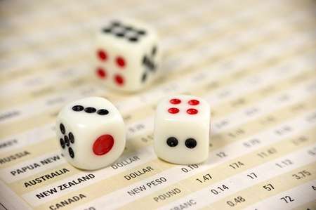 Dices on currency report  for business concept photo