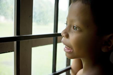Sad little boy face expression  Stock Photo