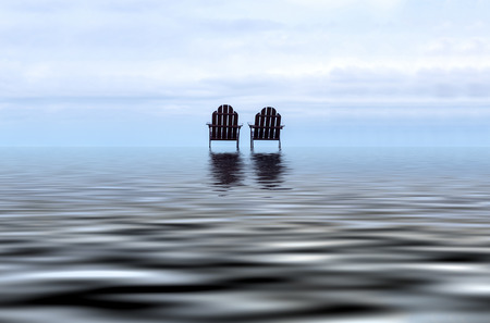 minimalist conceptual relaxing chair in the middle of ocean. digital compositing with colour tone, water reflection and ripple effects.