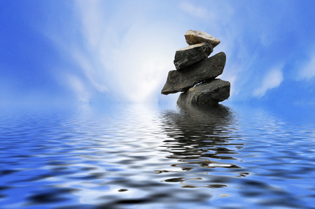 minimalist conceptual stacking stones in the middle of ocean. digital compositing with colour tone, water reflection and ripple effects.