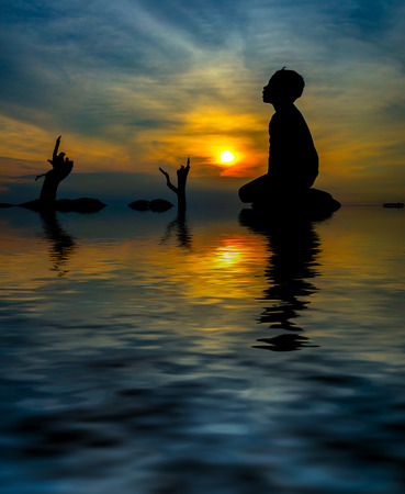 kid in silhouette during sunset. digital compositing with colour tone, water reflection and ripple effects.