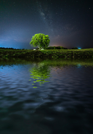 lonely tree with milky way reflected on lake
