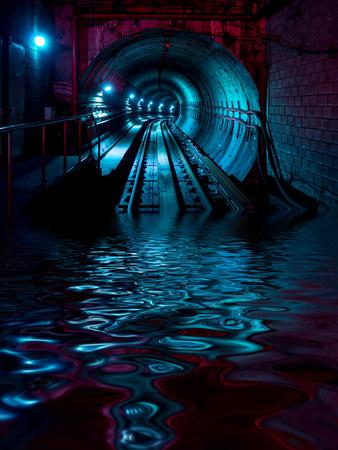 Underground train tunnel floods with water Stock Photo