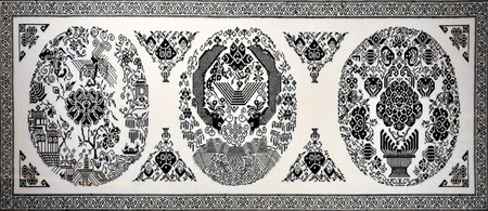 frolicking: Two Dragons frolicking with a black and white patterns embroidery embroidery crafts