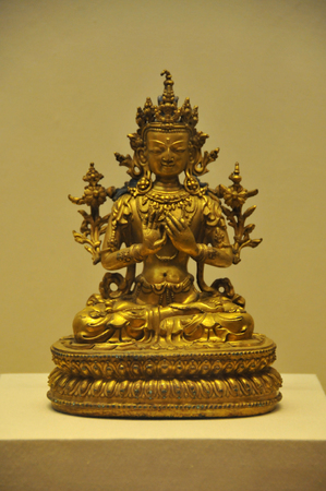 gilt: Gilt bronze seated Maitreya