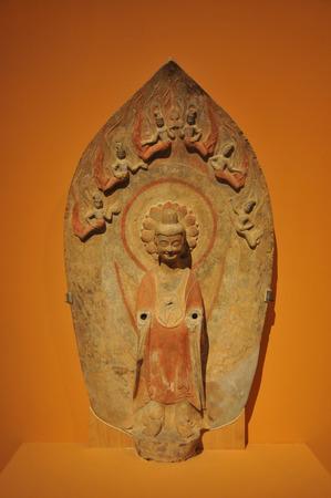 wei: Northern Wei painted gold Stone Buddha statue