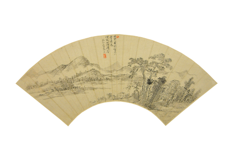 he is a traditional: Qing Dynasty ancient China painting fan
