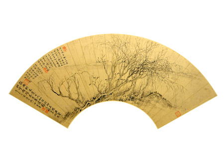 ancient relics: ancient cultural relics Chinese intention painting on fan Editorial