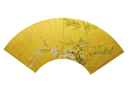 Qing Dynasty ancient Chinese painting fan Editorial