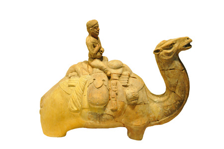 dynasty: The Tang Dynasty camel figurines of ancient cultural relics Chinese pottery objects Editorial