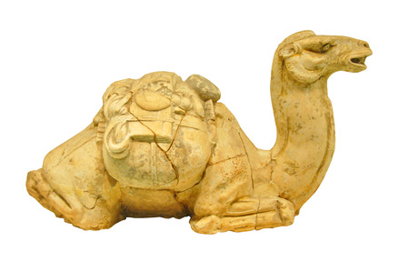 ancient relics: The Tang Dynasty pottery relics of ancient pottery camel Chinese objects