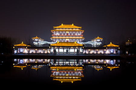 Night scene of Ziyun Building, Datang Furong Garden, Xi'an, Shaanxi Editorial