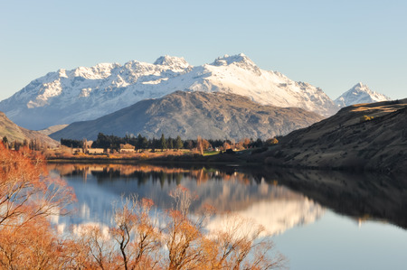 Sunny day at Lake Hayes on New Zealand photo
