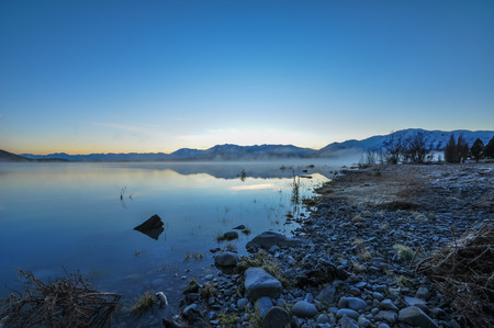 The sunrise at Lake Tekapo in the morning photo