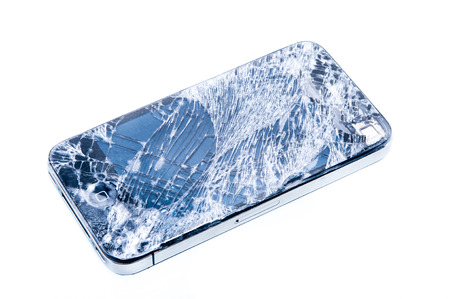 broken telephone: a mobile has an accident as broken screen