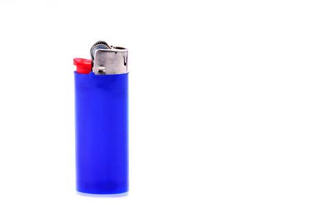 smocking: Blue lighter isolated on white background
