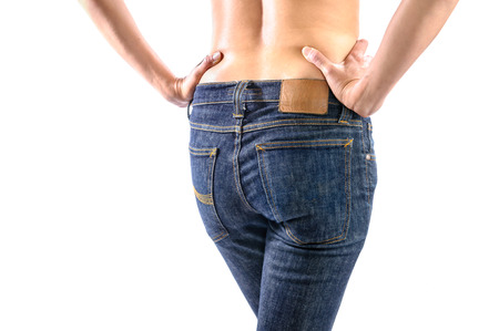 butt tight jeans: Women s ass in tight jeans on white background Stock Photo