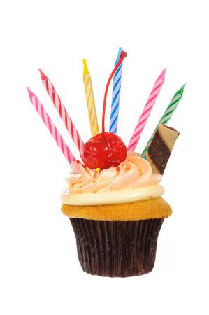 Chocolate cupcake isolated on white background photo