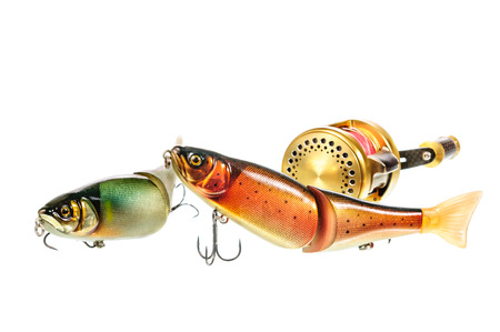 bright colour: Bright colour fishing lure isolated on white background