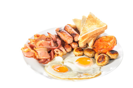 breakfast food: English Big Breakfast isolated on white background Stock Photo