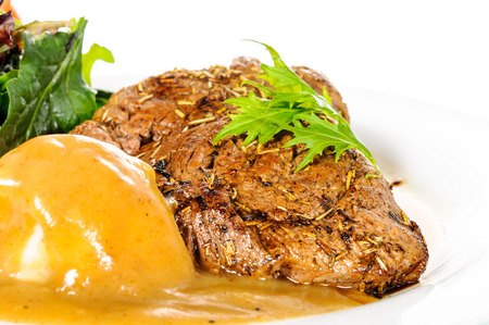 rump steak: Background of Rump steak with mashed potatoes on plate