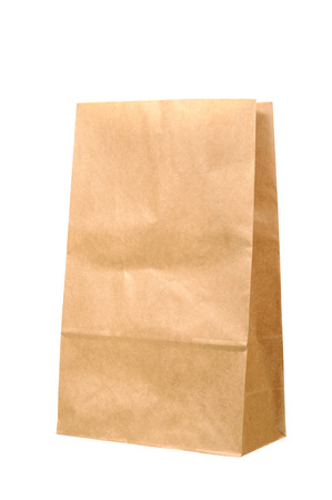 brown paper bag: Brown Paper Bag isolated on white background. Stock Photo