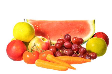 Mix fruit isolated on white background photo