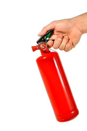 foam safe: Fire extinguisher tank in hand isolated on white background Stock Photo