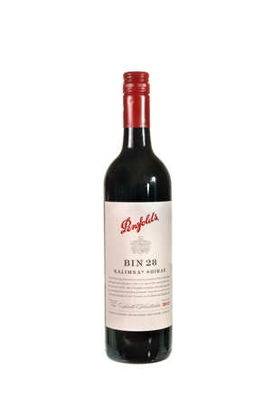 wines: SYDNEY, AUSTRALIA -JANUARY 20, 2015: A Penfolds Bin 28 Red Wines, on white background. Penfolds is the most popular wines in Australia. First Bin 28  vintage :1959
