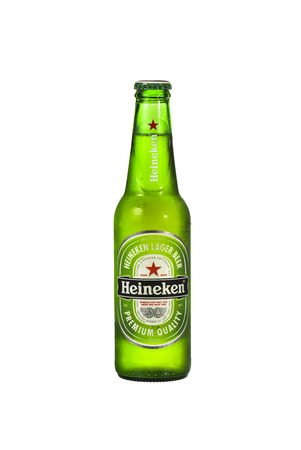 international beer: SYDNEY, AUSTRALIA - February 3, 2015: Bottle of Heineken Lager Beer . Heineken Lager Beer is a pale lager beer produced by the Dutch brewing company Heineken International