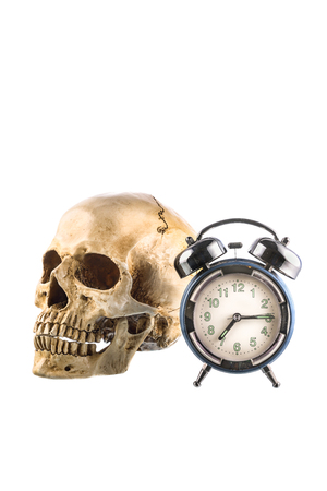 jawbone: Old Alarm clock and  human skull on white background