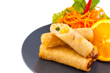 egg roll: Spring Roll also known as Egg Roll on white background