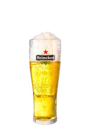 SYDNEY, AUSTRALIA - February 9, 2016: A Glass of beer Heineken Lager. Heineken Lager Beer is a pale lager beer produced by the Dutch brewing company Heineken International