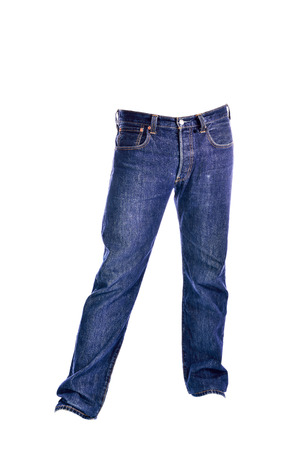Blue Jeans trousers on white background Stock Photo