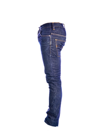 trousers: Blue Jeans trousers on white background Stock Photo