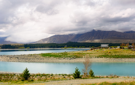 Lake Tekapo and Church of the Good Shepherd, New Zealand Stock Photo