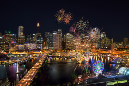 SYDNEY, AUSTRALIA - November 12, 2016 : Fireworks at Darling Harbour, adjacent to the city center of Sydney and also a recreational place in Sydney central business district