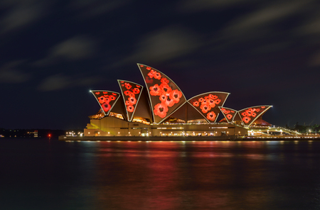 SYDNEY, AUSTRALIA - November 11, 2016, Sydney Opera House illuminated with colourful poppies light design imagery for remembrance day Editorial