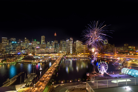 SYDNEY, AUSTRALIA - December 20, 2016 : : Fireworks at Darling Harbour, adjacent to the city center of Sydney and also a recreational place in Sydney central business district