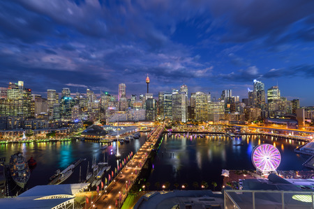 SYDNEY, AUSTRALIA - December 20, 2016 : Sunset of Darling Harbour, adjacent to the city center of Sydney and also a recreational place in Sydney central business district