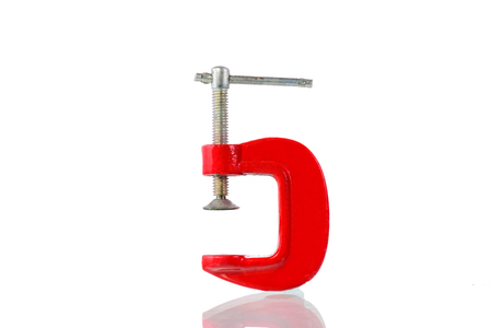 C-clamp isolated on white background with clipping path. Stock Photo