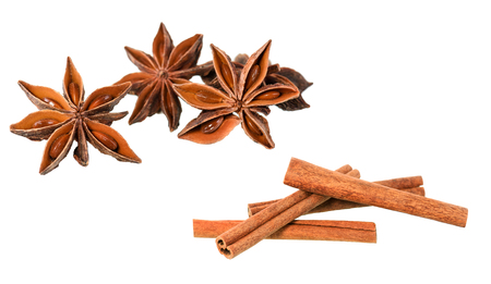 Cinnamon sticks with star anise isolated on white background with clipping path.