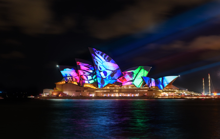 SYDNEY, AUSTRALIA - May 27, 2017, Sydney Opera House illuminated with colourful light design imagery, during the Sydney Vivid show. Sydney 2017 annual public event. Editorial