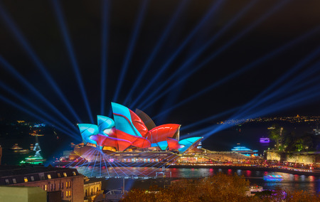 nsw: SYDNEY, AUSTRALIA - June 2, 2017, Sydney Opera House illuminated with colourful light design imagery, during the Sydney Vivid show. Sydney 2017 annual public event.