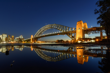 Sydney Harbour Bridged with reflection, viewed from Milsons Point in North Sydney Australia. Sydney Harbour is a beautiful meandering waterway, famous around the world.