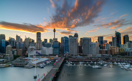 Sunrise of Darling Harbour, adjacent to the city center of Sydney and also a recreational place in Sydney central business district.