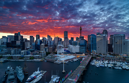 Sunrise of Darling Harbour, adjacent to the city center of Sydney and also a recreational place in Sydney central business district Editorial