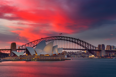 SYDNEY AUSTRALIA - August 14, 2017: View of Sydney Opera House. Sydney, Australia, Over 10 millions tourists visit Sydney every year