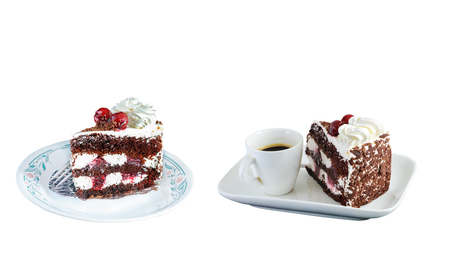 Cherry cake isolated on white background with clipping path.