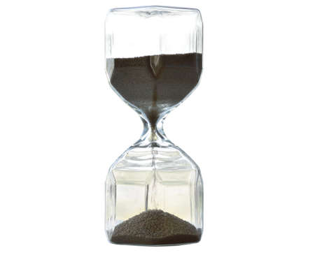 Hourglass glass bottle indicating the time on a white background. isolated. Clipping Parts